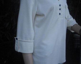 3e9a82b03e10df 1970s Knit Blouse, Tunic Blouse, Hippie, Top w/three Quarter Sleeves,  Ivory, Lady Blair, Size Large