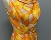 Vintage 1950s 60s HOURGLASS, Wiggle, Pencil Dress, BOMBSHELL, Golden Yellow, Sleeveless, Sexy Back w Kick Pleat, 34 Bust