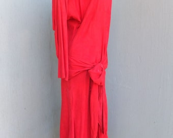 54a29d87d6 1980s VAKKO Cherry Red Suede Leather Midi Maxi Dress w Drop Waist