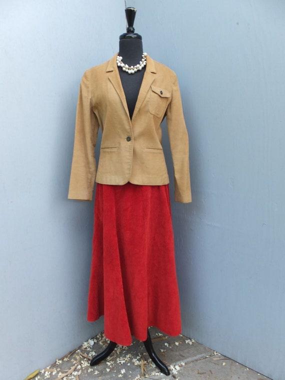 Vintage Skirt, WHISPERS, Rusty Orange Corduroy, Ma