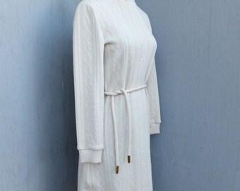 Vintage Dress, 1970s, Butte Knit, Beige Sweater Dress, Winter Fashion