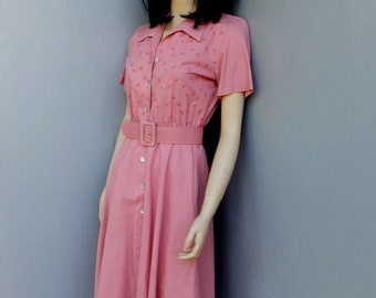 Vintage 1980s Pink Day Dress, Willow Ridge, Secretary, Career or Academia, Summer Fashion, Size 8 Petite