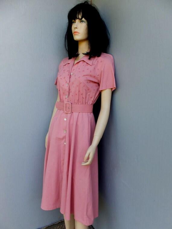 Vintage 1980s Pink Day Dress, Willow Ridge, Full S