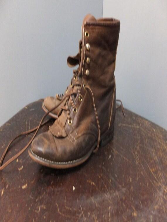 Vintage Laredo Brown Leather Roper Boots size 9 M,