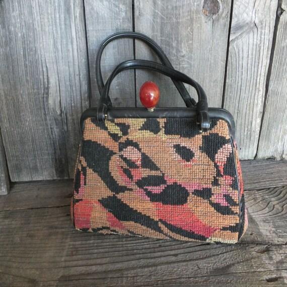 Vintage Needlepoint and Leather Handbag, Needlepoi