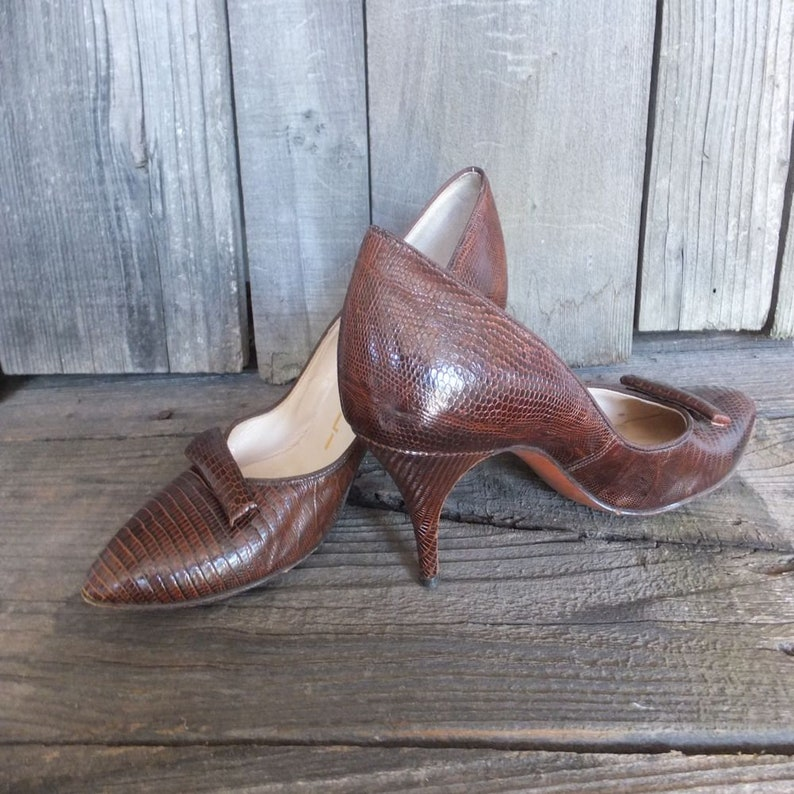 1950s60s Lizard Pumps, JOCELLI Reptile High Heels, Very New York, 77 Last, Pointy Toe Pumps, Leather Sole