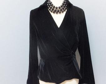 Vintage Black Velvet & Satin Wrap Style Blouse, Holiday and Evening Wear Size M