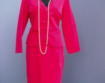 Vintage Suit, Two Piece Pink Velour Suit, Geno California, Ladies Business Suit, Career Suit, size 14