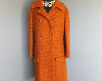 Vintage 1960s/70s Double Breasted Dress Coat, Orange, Full Length Mohair Wool Coat, Gorgeous