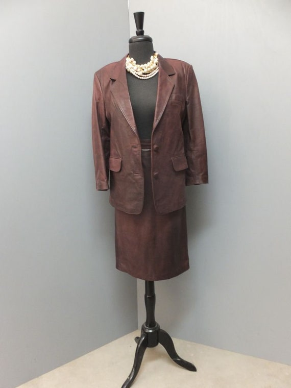 1980s Women's Brown Leather Suit  Professional Two
