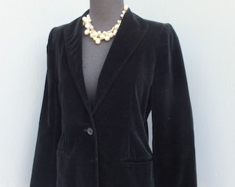 Vintage 1970s BLACK Betty Hanson Petite Velour Jacket or Blazer, After Six Dinner Jacket, Petites size 8