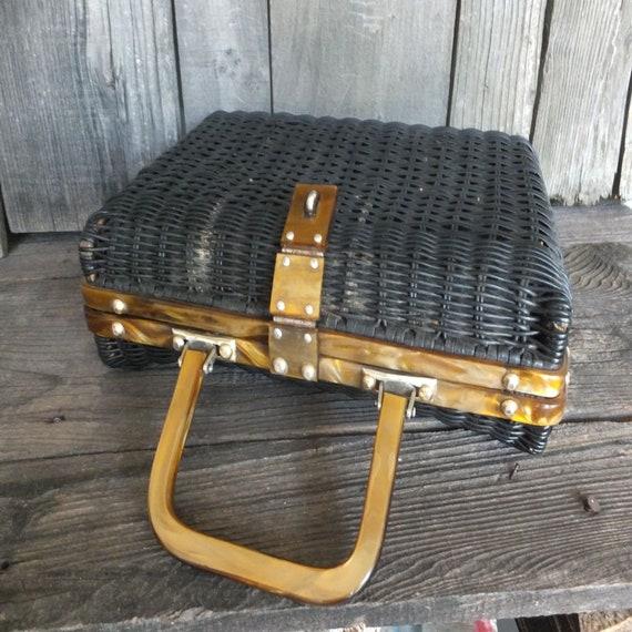 Vintage Basket Purse or Handbag, Hong Kong, Black