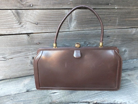 1960s Chocolate Brown Leather Handbag, Top Handle Purse, Leather, Brown 60s Purse by Etsy