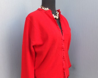 Vintage Cardigan, Betty Clemo, 80s Sweater, Red, Holiday, Valentines Day,  SIZE 38