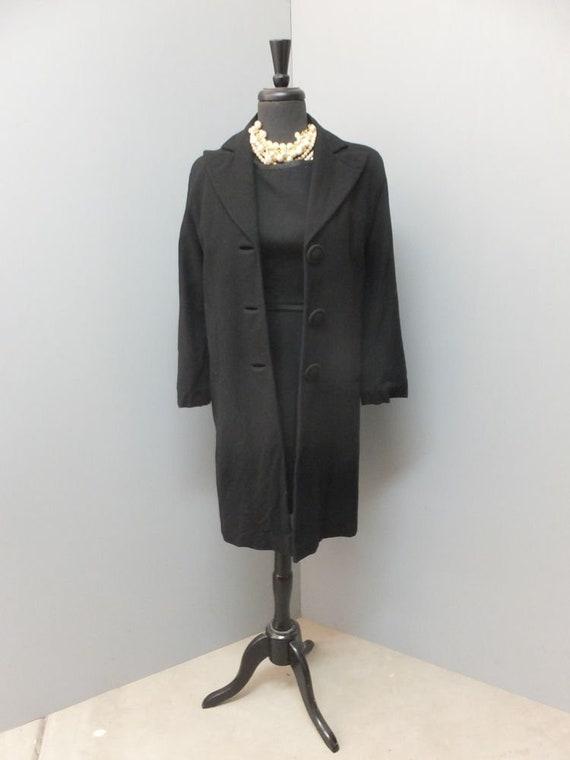 Vintage 40s Black Full Length Wool Coat, Mad Men,