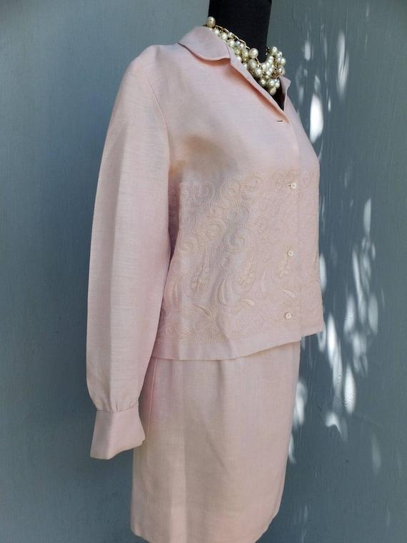 Vintage Suit, Anne Fogarty, Pink Linen Suit, Summ… - image 2