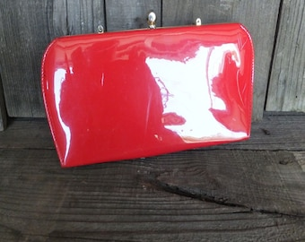 Vintage Fire Engine Red Patent Purse, Clutch or Evening Bag for the Sassy side of You