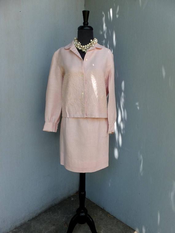 Vintage Suit, Anne Fogarty, Pink Linen Suit, Summ… - image 1