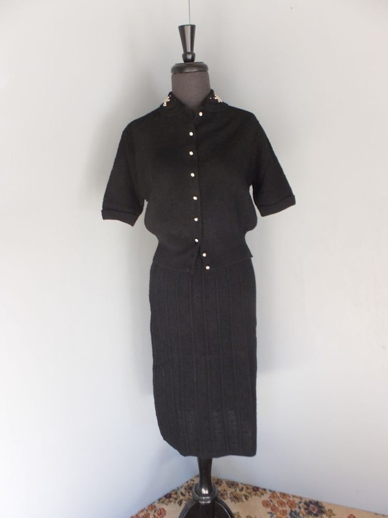 Vintage 1940s Toby Berman Wool Knit Two Pc Black Twinset Skirt and Sweater Set Skirt and Blouse Set Medium