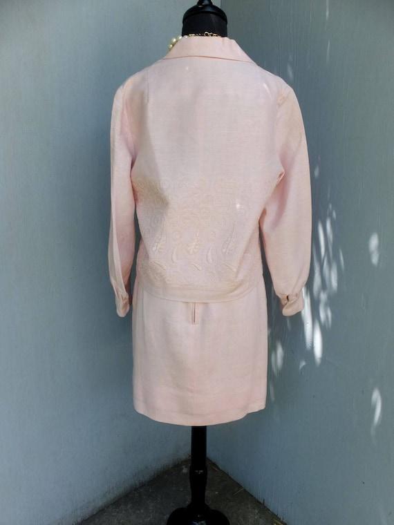 Vintage Suit, Anne Fogarty, Pink Linen Suit, Summ… - image 3