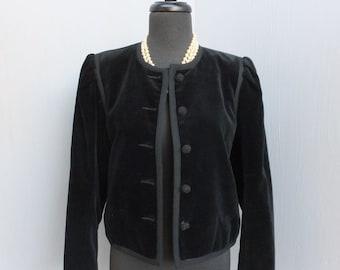 Vintage 1980s Cropped Jacket, Joseph Magnin, Black Velour Jacket, Cropped W/Boxy Shoulders Velour Jacket size M