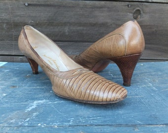 1950s/60s  Lizard Pumps / Reptile Heels / Marshall Field and Company