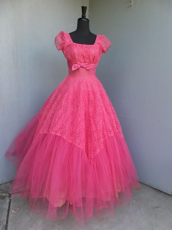 Vintage 1950s/60s Pink Lace Gown, Princess Bridal