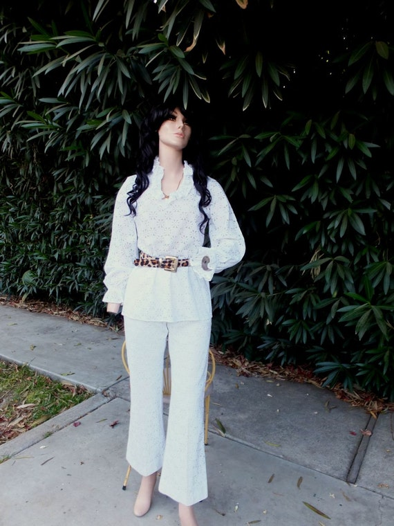 Vintage Pantsuit, 1970s Bell Bottom White Lace Pan