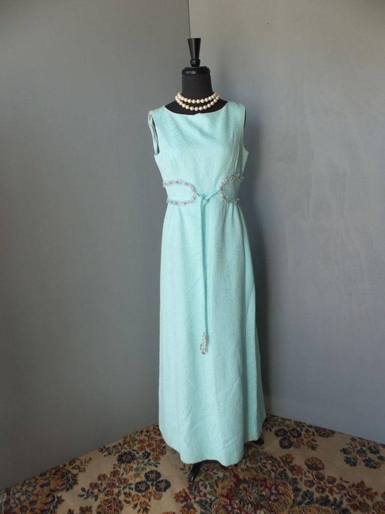 32065906c02 Vintage 70s Maxi Dress Saks Fifth Avenue Aqua Long