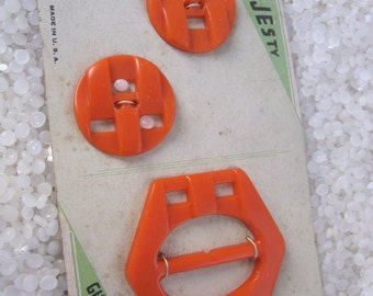 Vintage Button and buckle set, orange, buttons and buckle, 1930 fashion, vintage sewing accessory