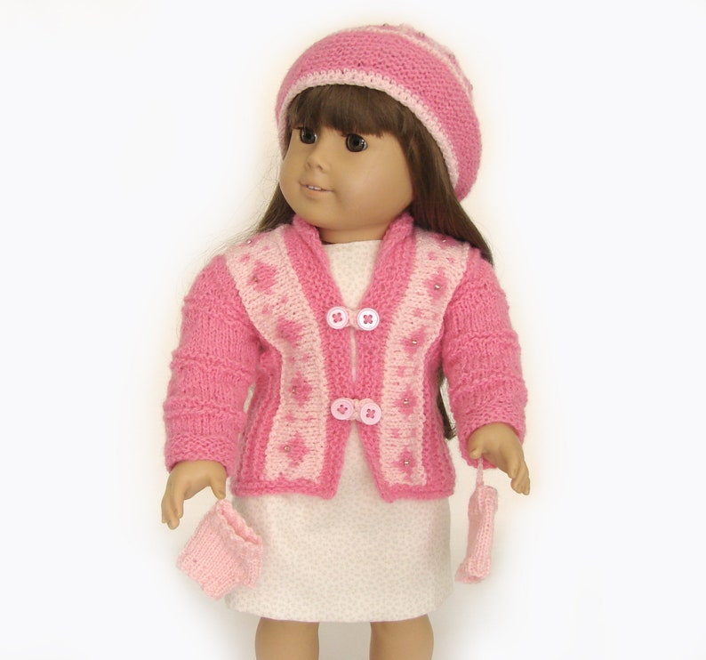 """Hat and Mittens For 18/"""" Doll Pink Fleece Coat"""