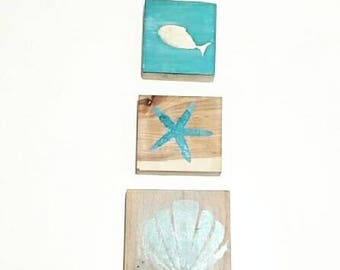 Reclaimed Hardwood Aquaman Inspired  Block Home Decor Kit Fish Shell Starfish