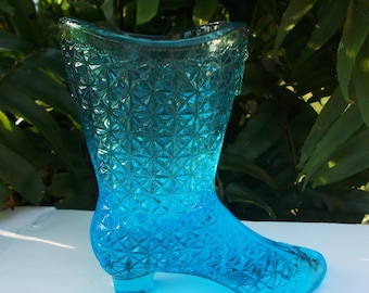 Glass North American Fenton Opal Satin Glass Boot Shoe