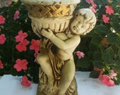Cherub Indoor Planter, Gold And White Rococco Home Decor, Shabby Chic Mantle Planter, Prissys Newberry Antiques