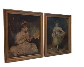 Oil On Board Framed The Age of Innocence, Sir Joshua Reynolds,Rococo Baroque Decor, Set Of Renaissance Wall Art