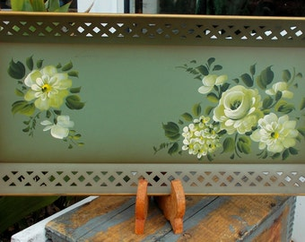 Nashco Hand Painted Tole Tray French Country White Shabby Roses / Reticulated Flower Serving Tray / Garden Party Serving