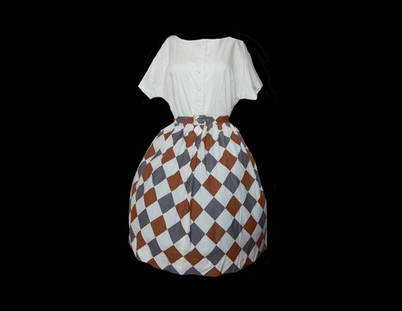 Vintage 50s harlequin diamond print cotton full sk