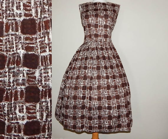 Vintage 50s brown grey white abstract plaid print