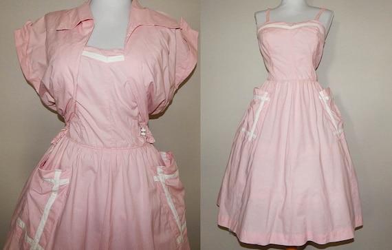 Vintage 50s pink white cotton full skirt sun dress