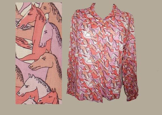 Vintage 50s novelty print horses cotton shirt top