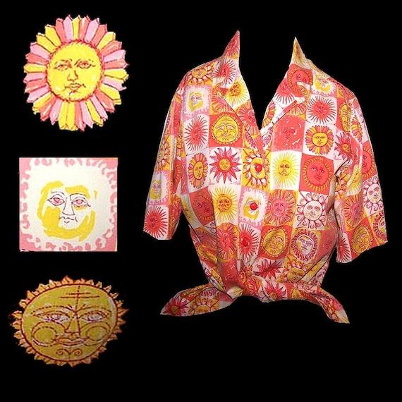 Vintage 1960s groovy smiling sun face novelty prin