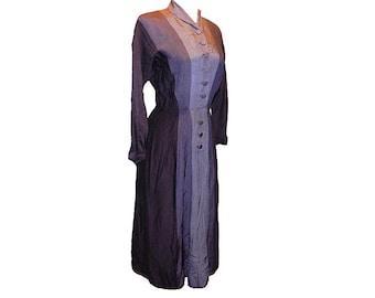 Vintage 40s three tone gray rayon gabardine day dress s