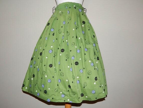 Vintage 50s button novelty print cotton full skirt