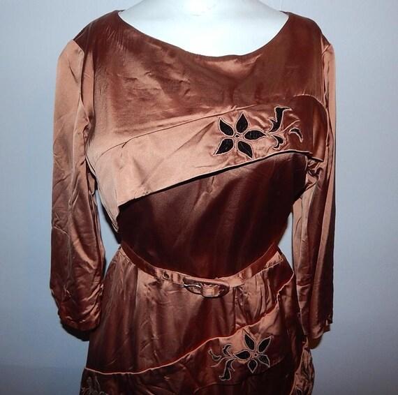 Vintage 40s 50s copper satin velvet cocktail dress