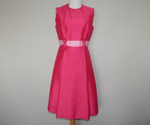 Vintage 60s two tone mod pink cocktail party dress