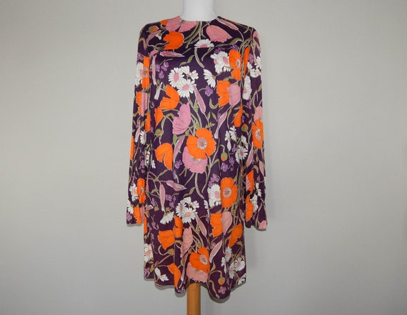 Vintage 60s purple orange bold floral print flower