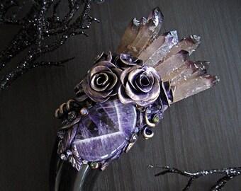 FLOWER FAERIE Purple Phantom Quartz Crystal Bouquet Magic Wand Horn Chevron Amethyst Pagan Wiccan Magick Witch Witchcraft Altar Art