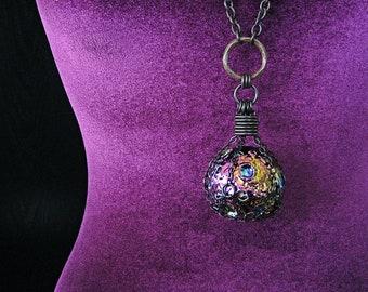 THE MESSENGER MOON Titanium Rainbow Aura Quartz Moon Crystal Ball Necklace Witchy Pagan Jewelry Gothic Statement Amulet Gemstone Sphere