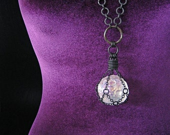 THE GUARDIAN MOON Angel Aura Quartz Moon Crystal Ball Necklace Witchy Witch Pagan Jewelry Gothic Statement Amulet Gemstone Sphere