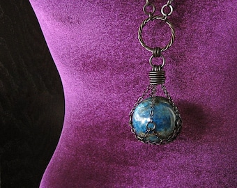 THE GAIA STONE Blue Apatite Crystal Ball Necklace Witchy Pagan Jewelry Gothic Talisman Statement Amulet Gemstone Sphere